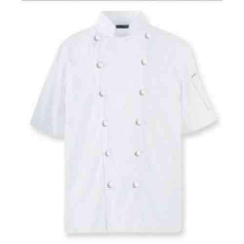 Áo bếp kaki cotton trắng nam cộc tay không viền đen