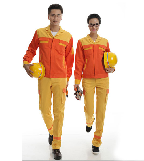Quần áo bảo hộ phối màu cam vàng vải Pangzim (Hàng đặt may)