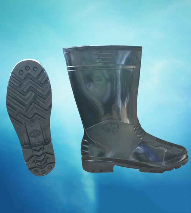Ủng nam cao su màu đen HS-01 có lót chống lạnh
